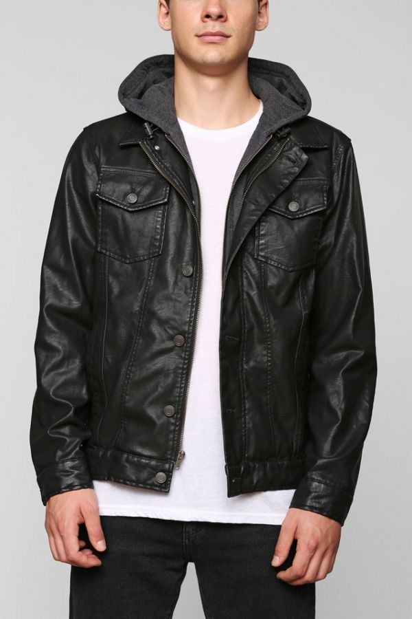 580681195 Charles & 1/2 Faux-Leather Hooded Jacket