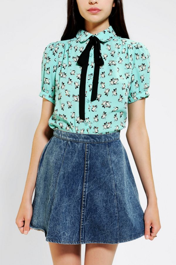 6ba22aae0e Coincidence & Chance Puppy Love Tie-Neck Blouse | Urban Outfitters ...