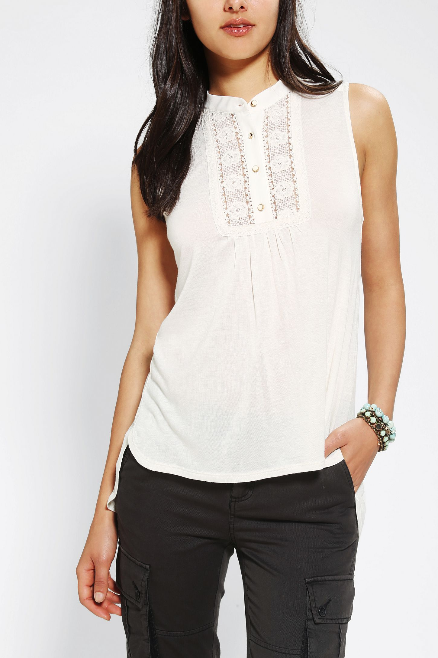 3bf50788 Pins And Needles Lace Inset Button-Down Tank Top | Urban Outfitters ...
