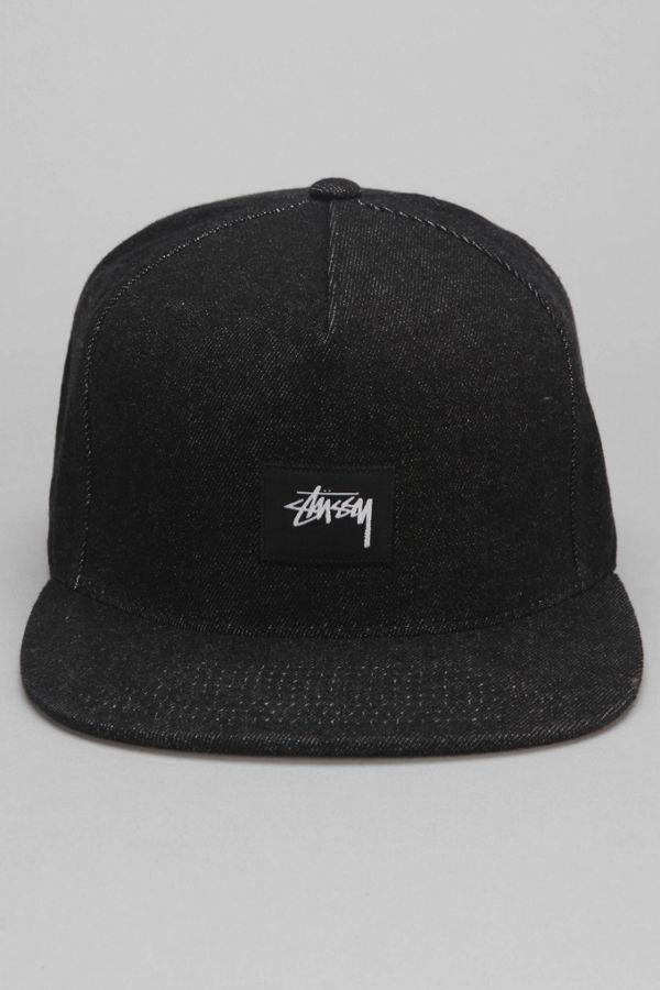 a8c9182c4de Stussy Black Denim Snapback Hat