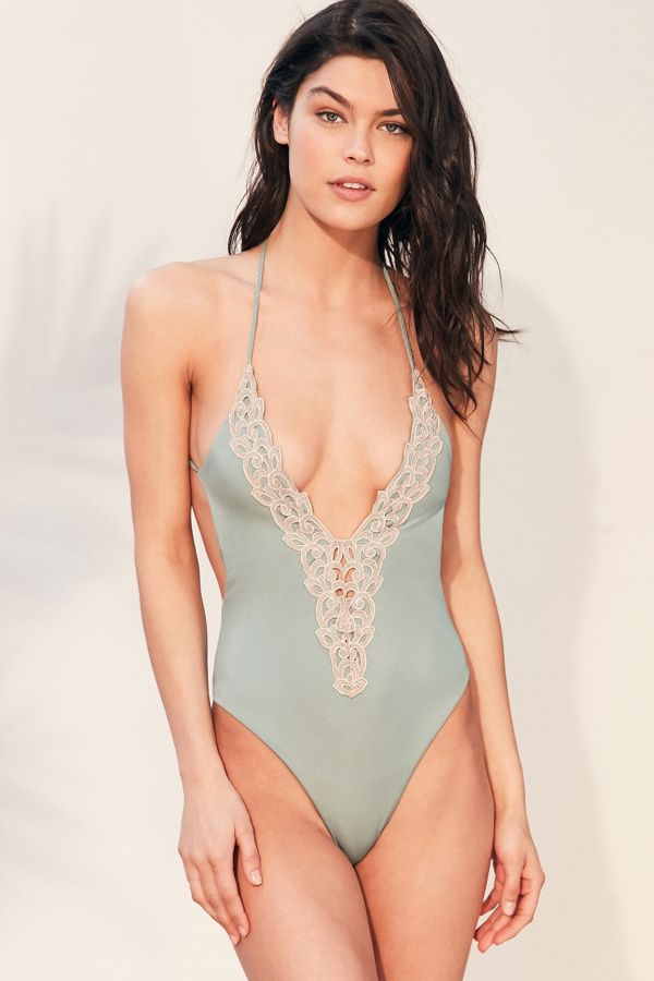 a1614c25456 Blue Life Mirage Halter One-Piece Swimsuit   Urban Outfitters