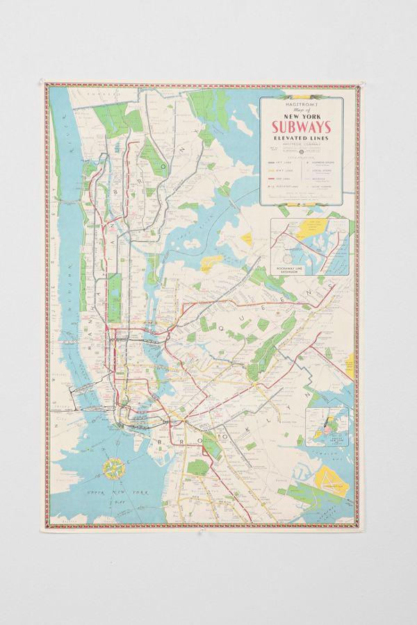 Nyc Subway Map Paper.Wooden Print Dowel Hanger