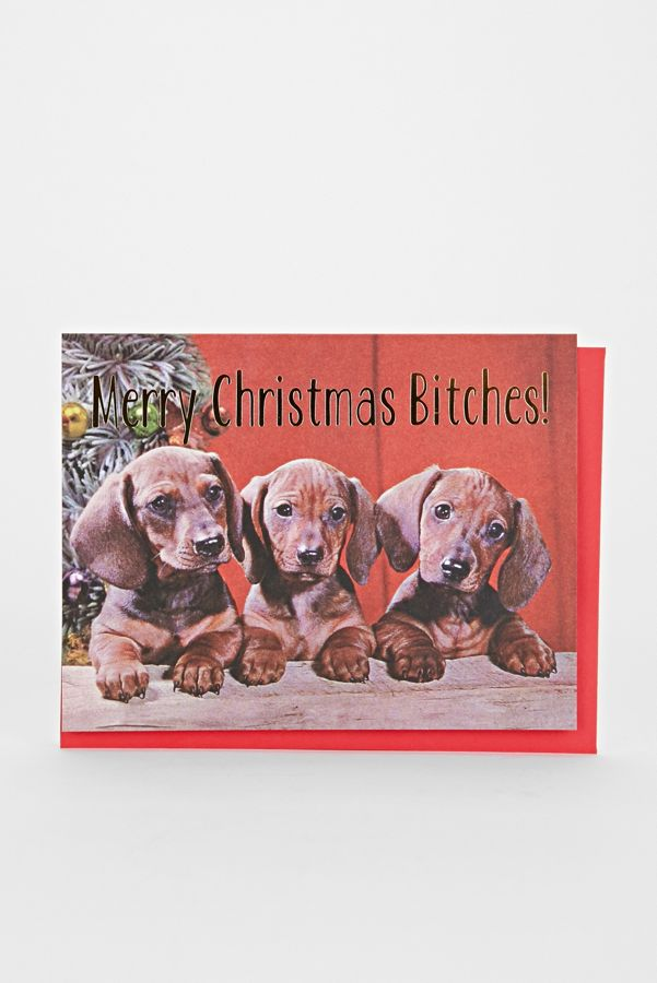 Merry Christmas Puppies.Smitten Kitten Merry Christmas Puppies Card Urban Outfitters