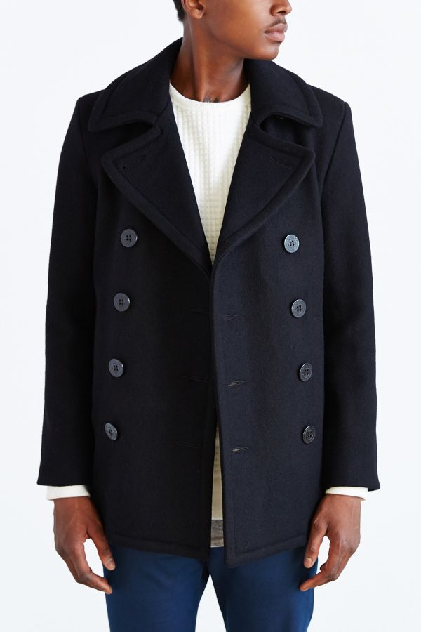 stable quality quality first latest discount Schott 24oz Wool Slim Peacoat | Urban Outfitters