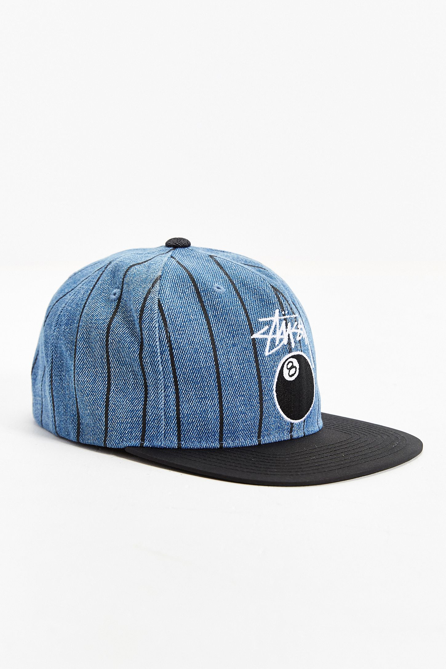 4a305b492d5664 Stussy 8-Ball Pinstripe Denim Snapback Hat | Urban Outfitters Canada