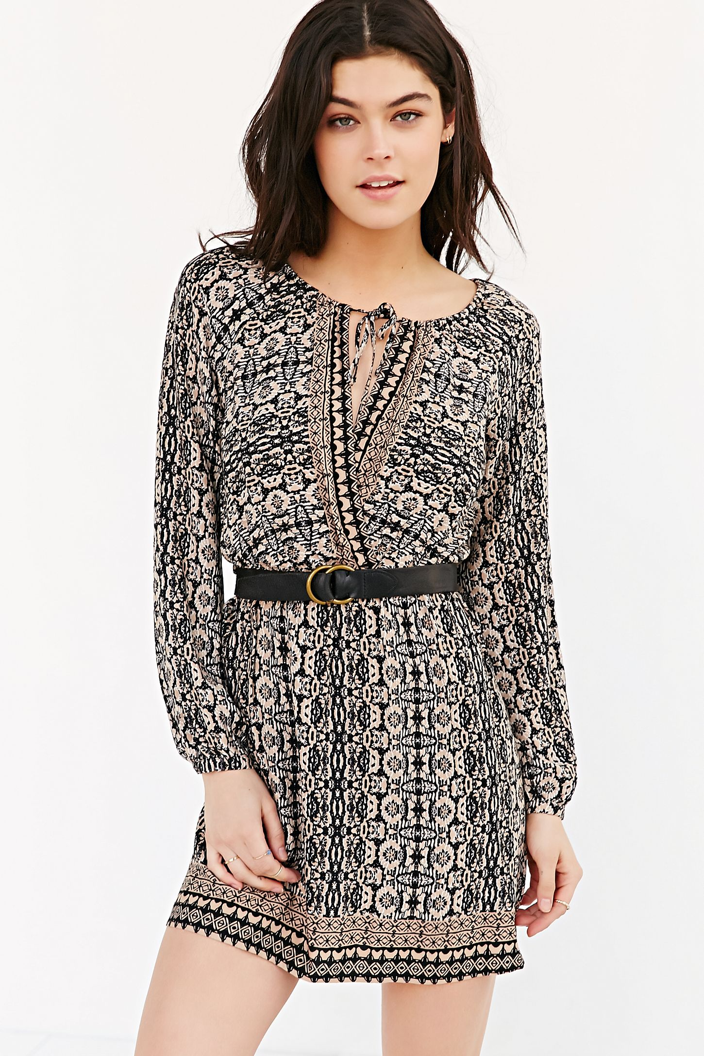 218b7847240 COPE Long-Sleeve Printed Tunic Dress | Urban Outfitters