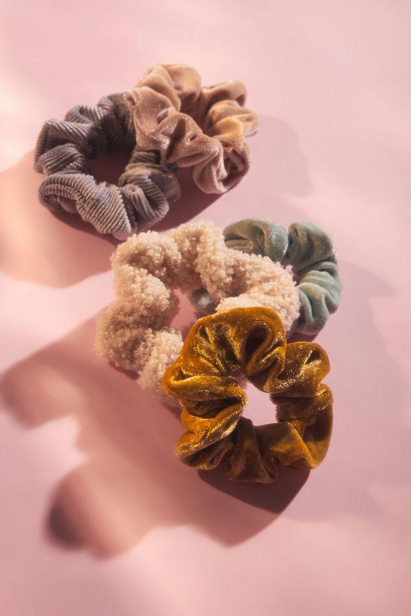 1 Velvet Natural Life Hair Scrunchies Set of 3 1 multi print 1 Metallic