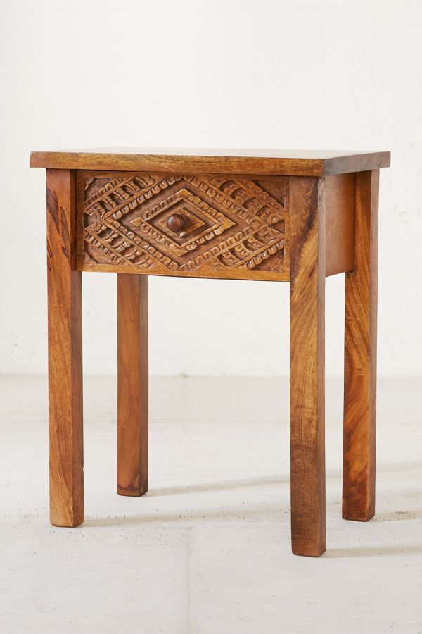 finest selection d8999 8ac99 Amira Carved Wood Nightstand