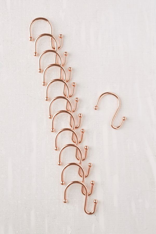 Slide View 2 Copper Shower Curtain Hooks Set
