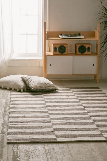 Abbey Offset Stripes Wool Rug Urban