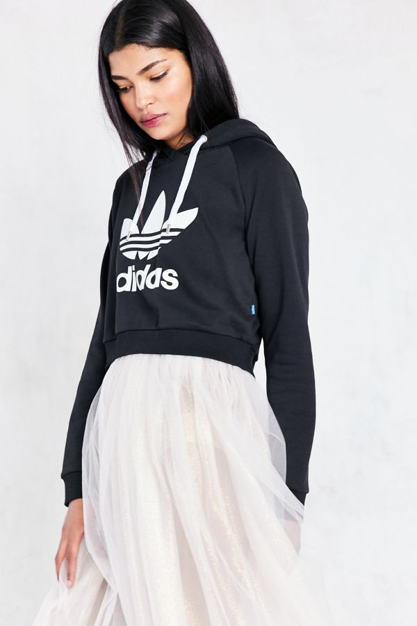 Adidas Originals Trefoil Cropped Hoodie Sweatshirt | Don't