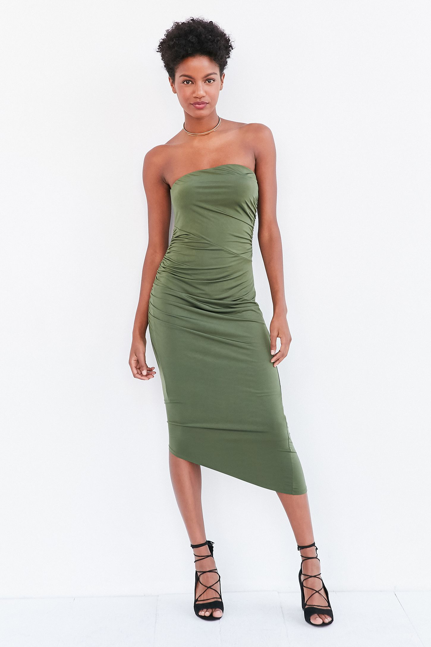 a37c61ba12f4 Silence + Noise Slinky Ruched Strapless Midi Dress | Urban ...