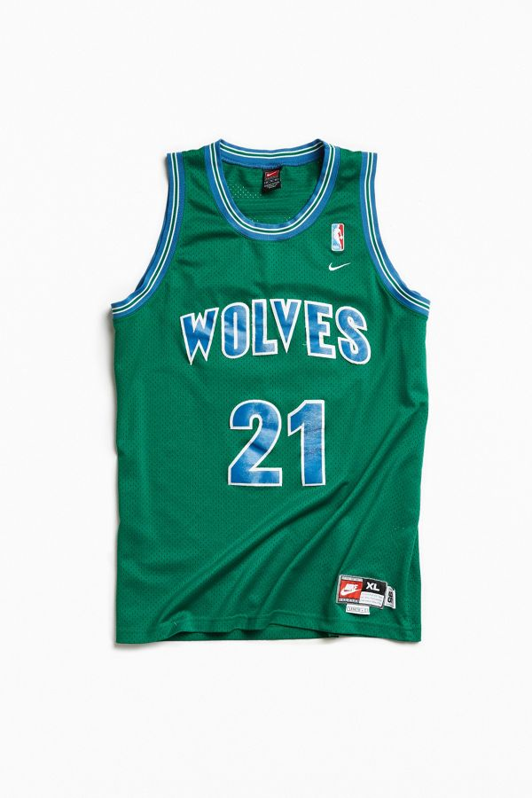 Vintage Kevin Garnett Wolves Green Jersey Urban Outfitters