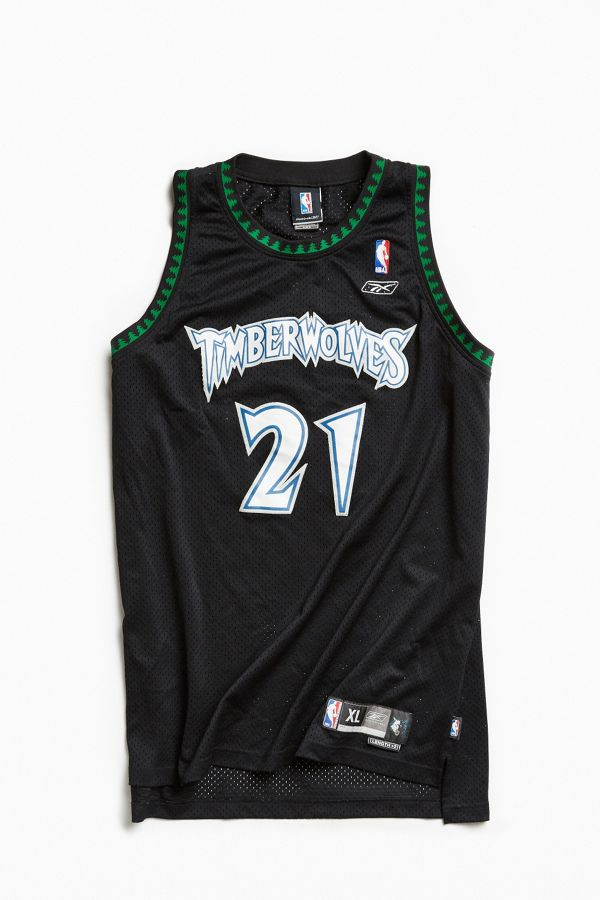 new products dc731 90ee3 Vintage Kevin Garnett Wolves Black Jersey | Urban Outfitters