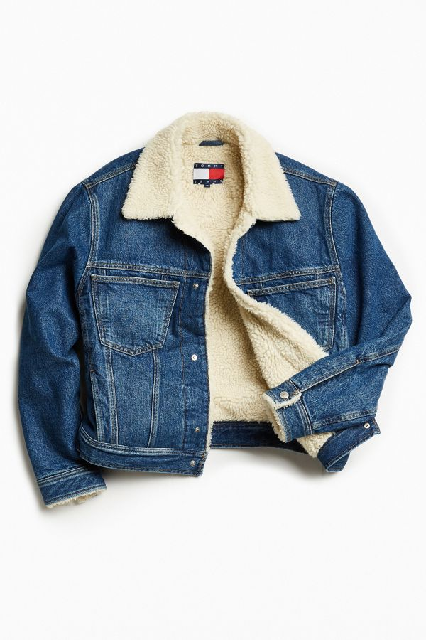 new high buying now attractive price Tommy Jeans For UO Sherpa Lined Denim Trucker Jacket | Urban ...