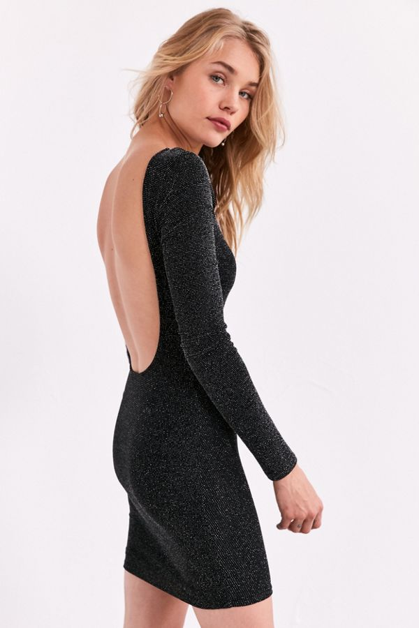 828db1b1cf31 Silence + Noise Shimmer Long-Sleeve Bodycon Dress | Urban Outfitters