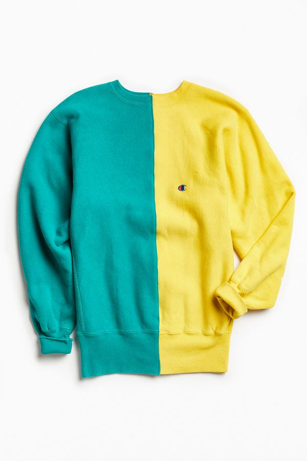 b469d38e3bf8 Vintage Champion Green Yellow Split-Seam Crew Neck Sweatshirt ...