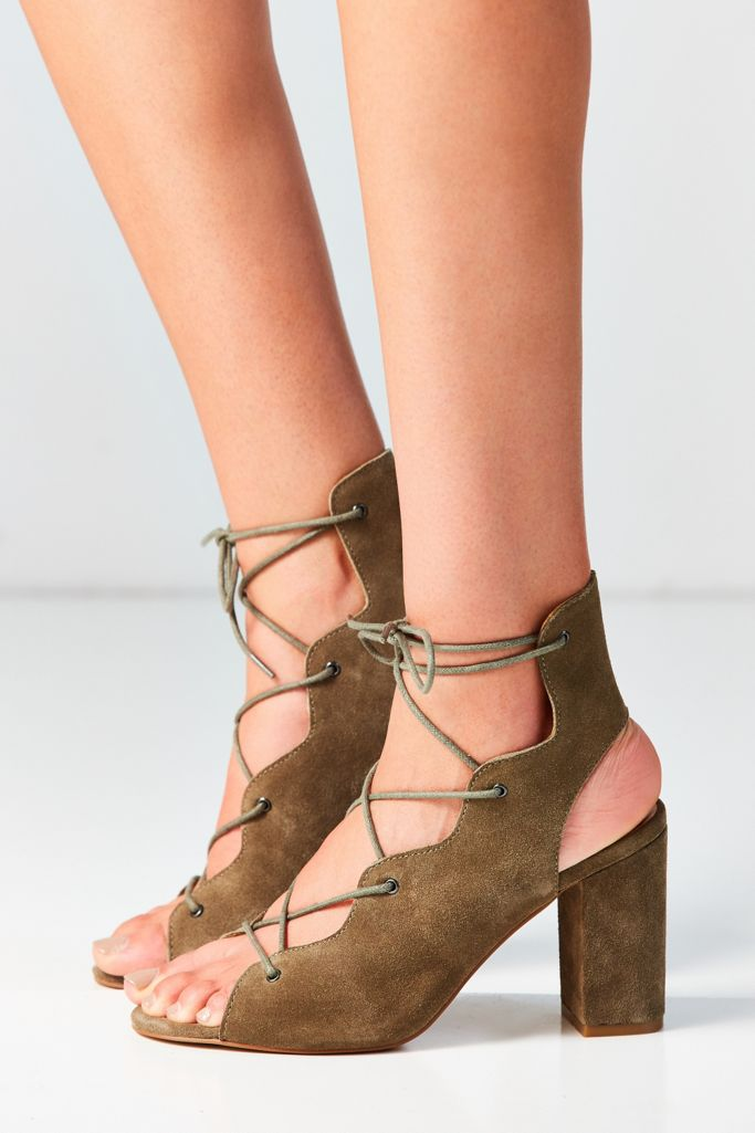 Urge Footwear Shine Lace Up Heel