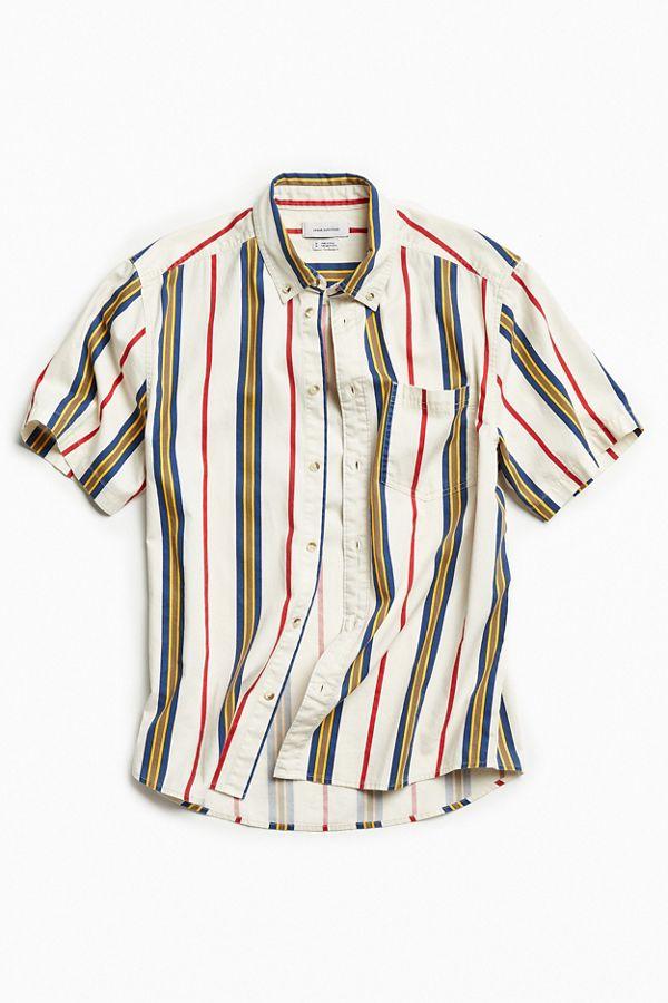 b008ba8c969245 UO '90s Stripe Short Sleeve Button-Down Shirt | Urban Outfitters