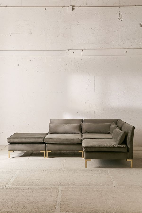 Stupendous Cecilia Velvet Sectional Sofa Alphanode Cool Chair Designs And Ideas Alphanodeonline