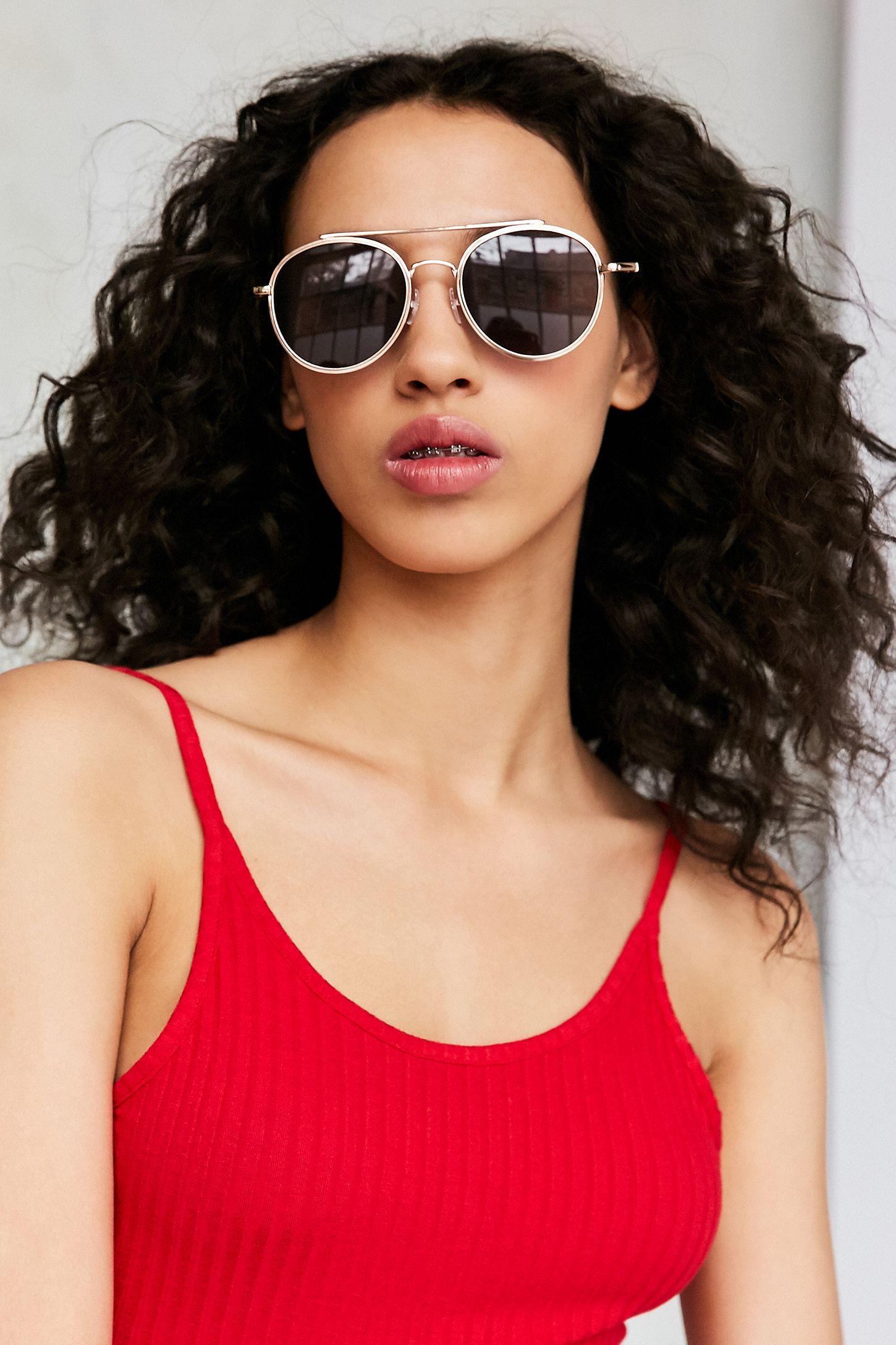 e3071a13d9ca Slim Round Brow Bar Sunglasses   Urban Outfitters