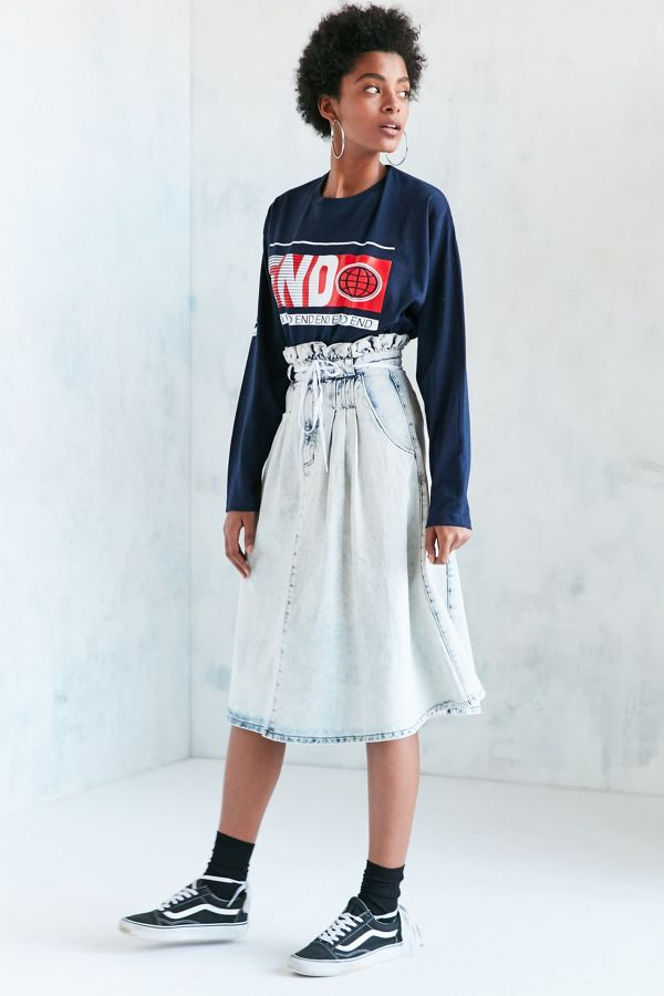 f919b4d833 BDG Alabama Acid Wash Paperbag Denim Midi Skirt | Urban Outfitters
