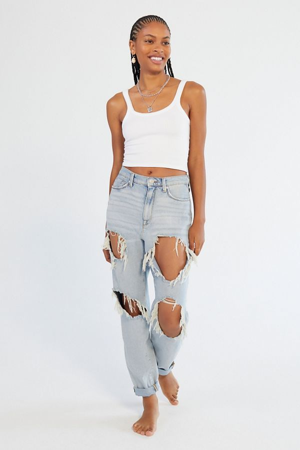 cc9d7c50a1d BDG High-Rise Mom Jean - Destroyed Light Wash | Urban Outfitters