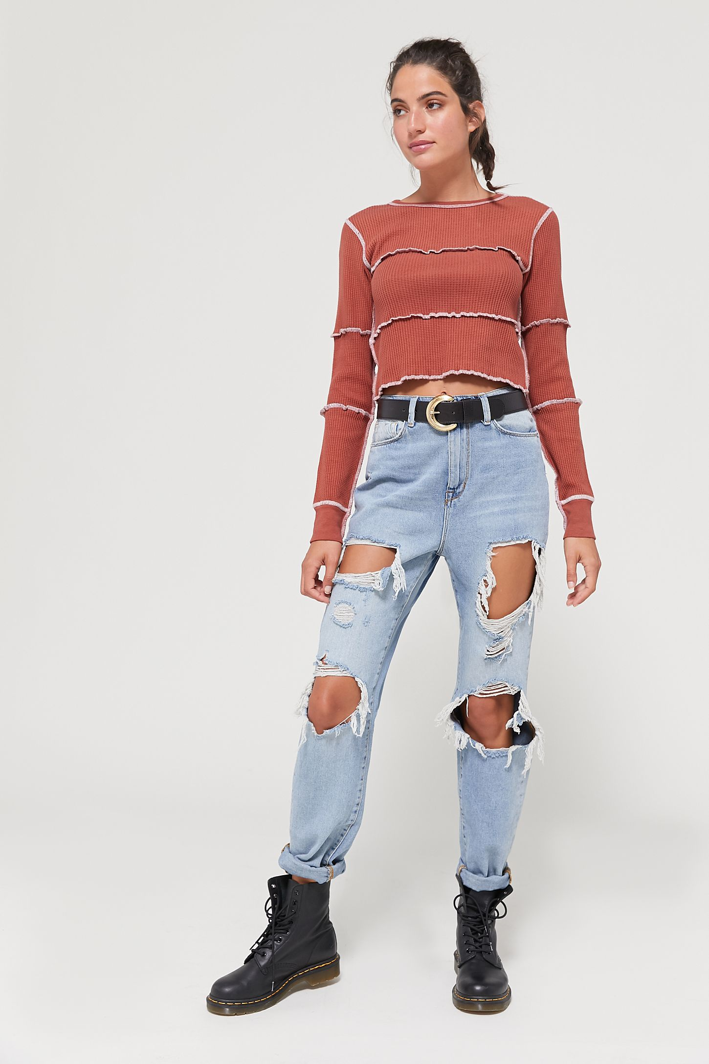 580db6e347e1c BDG High-Rise Mom Jean - Destroyed Light Wash | Urban Outfitters