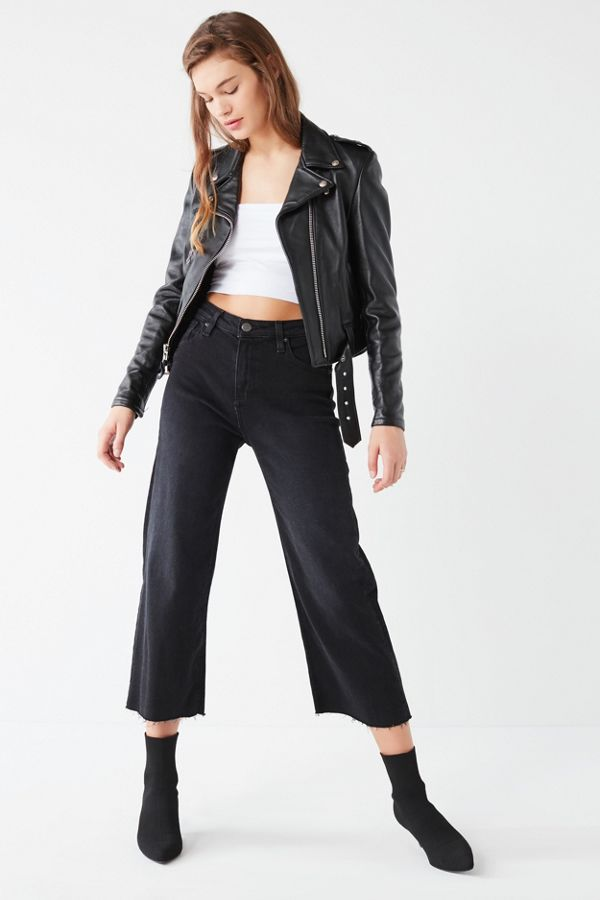 f98371b738 BDG Cropped Denim Culotte - Washed Black | Urban Outfitters