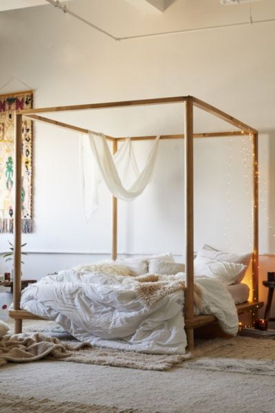 Picture of: Eva Wooden Canopy Bed Urban Outfitters