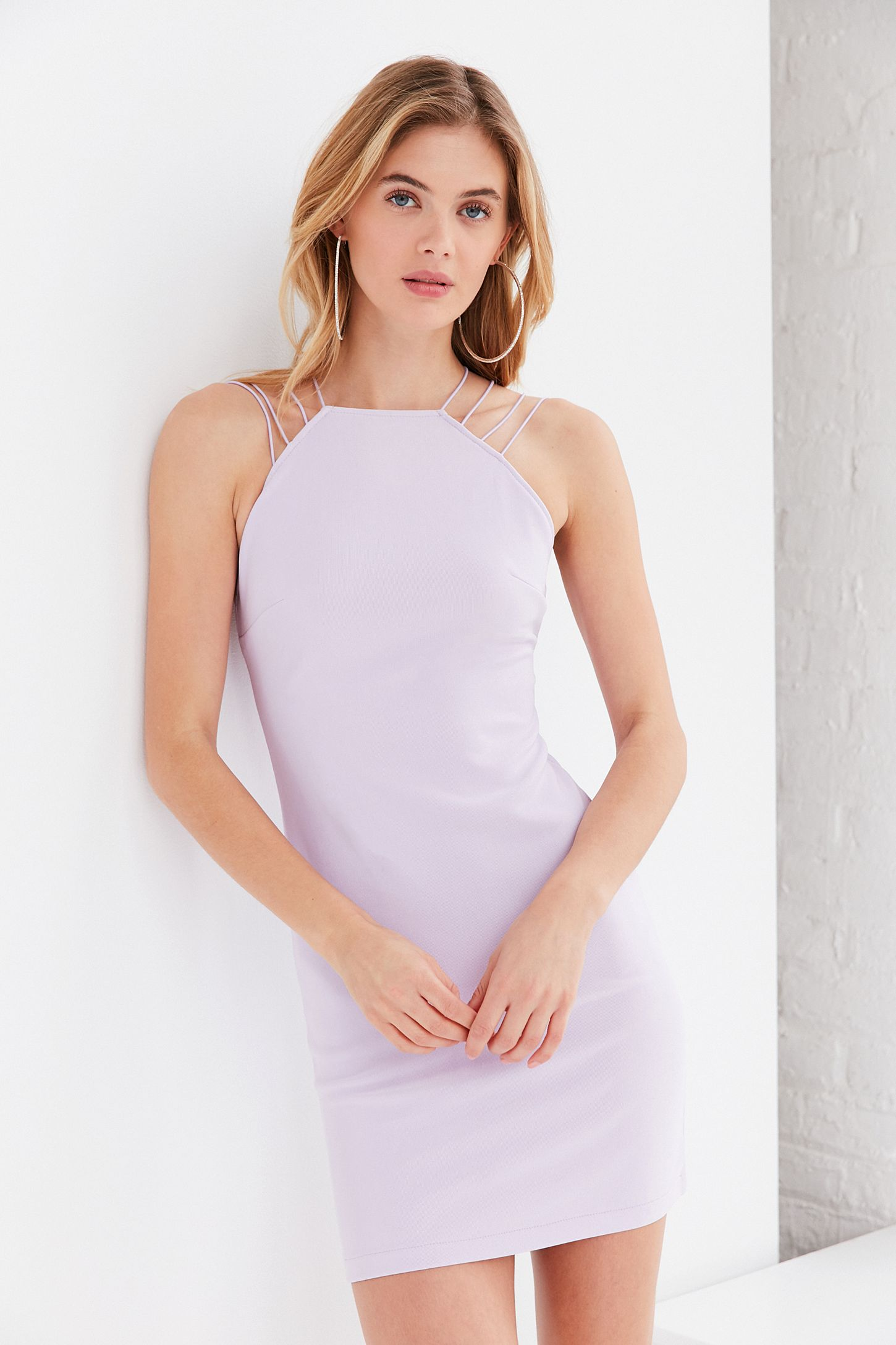 6c16787e2 Rare London High-Neck Strappy Bodycon Dress