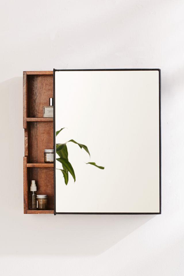 Plymouth Sliding Storage Mirror Urban, Mirrored Bathroom Floor Cabinet