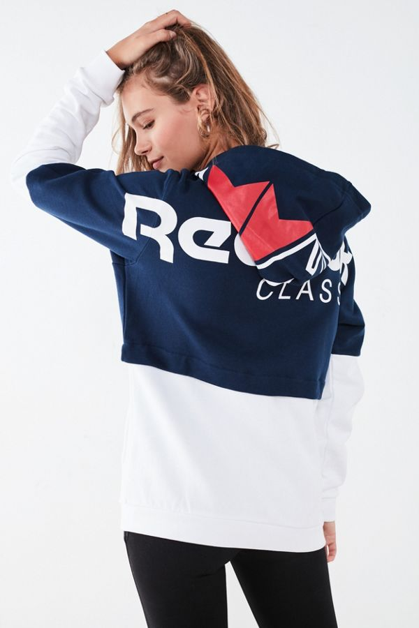 65393640c7bf6 Reebok Classic French Terry Colorblock Hoodie Sweatshirt | Urban ...