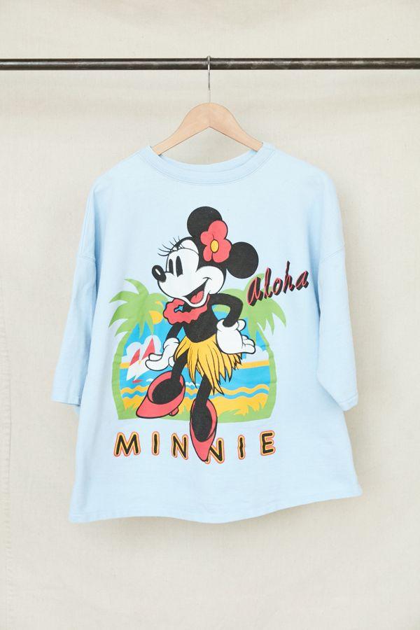 a7ba9f38 Vintage Minnie Mouse Aloha Short Sleeve Sweatshirt | Urban Outfitters
