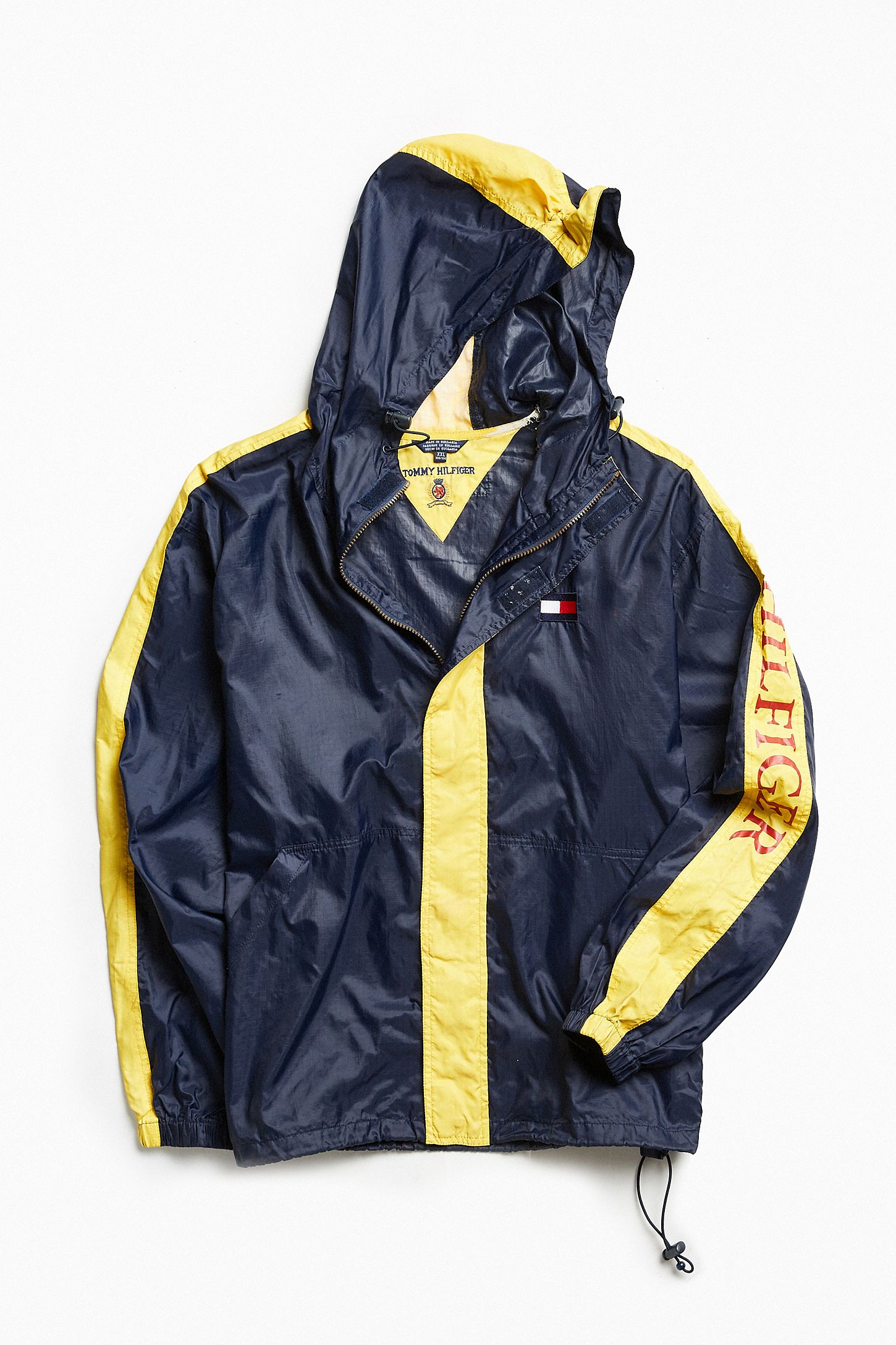 f35010b2 Vintage Tommy Hilfiger Navy + Yellow '90s Prep Sport Windbreaker Jacket.  Tap image to zoom. Hover to zoom. Double Tap to Zoom