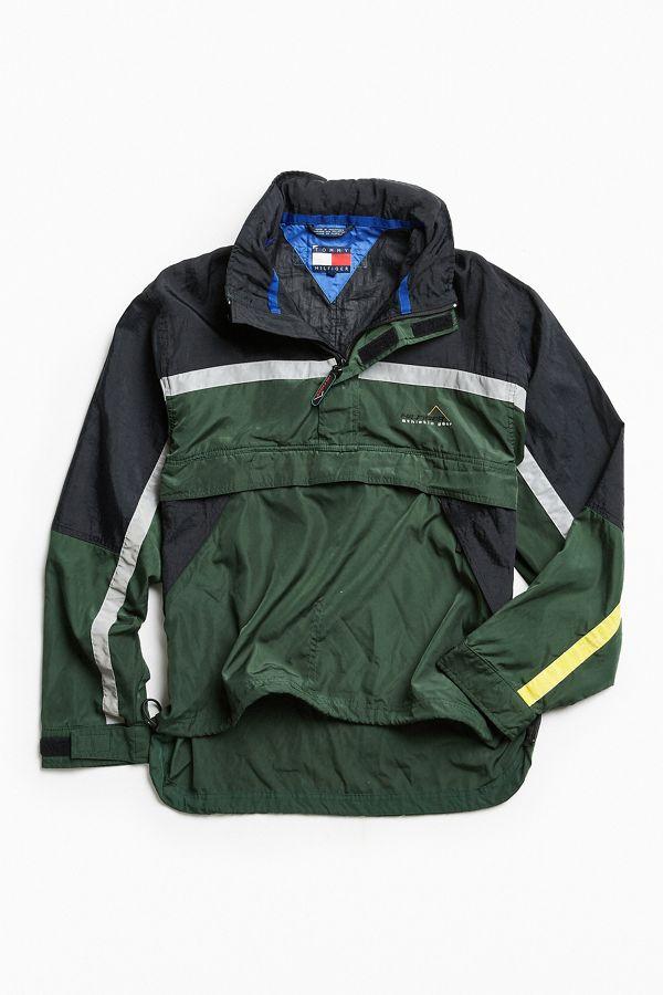 Blouson coupe vent sport vintage style années 90 vert réfléchissant Tommy Hilfiger