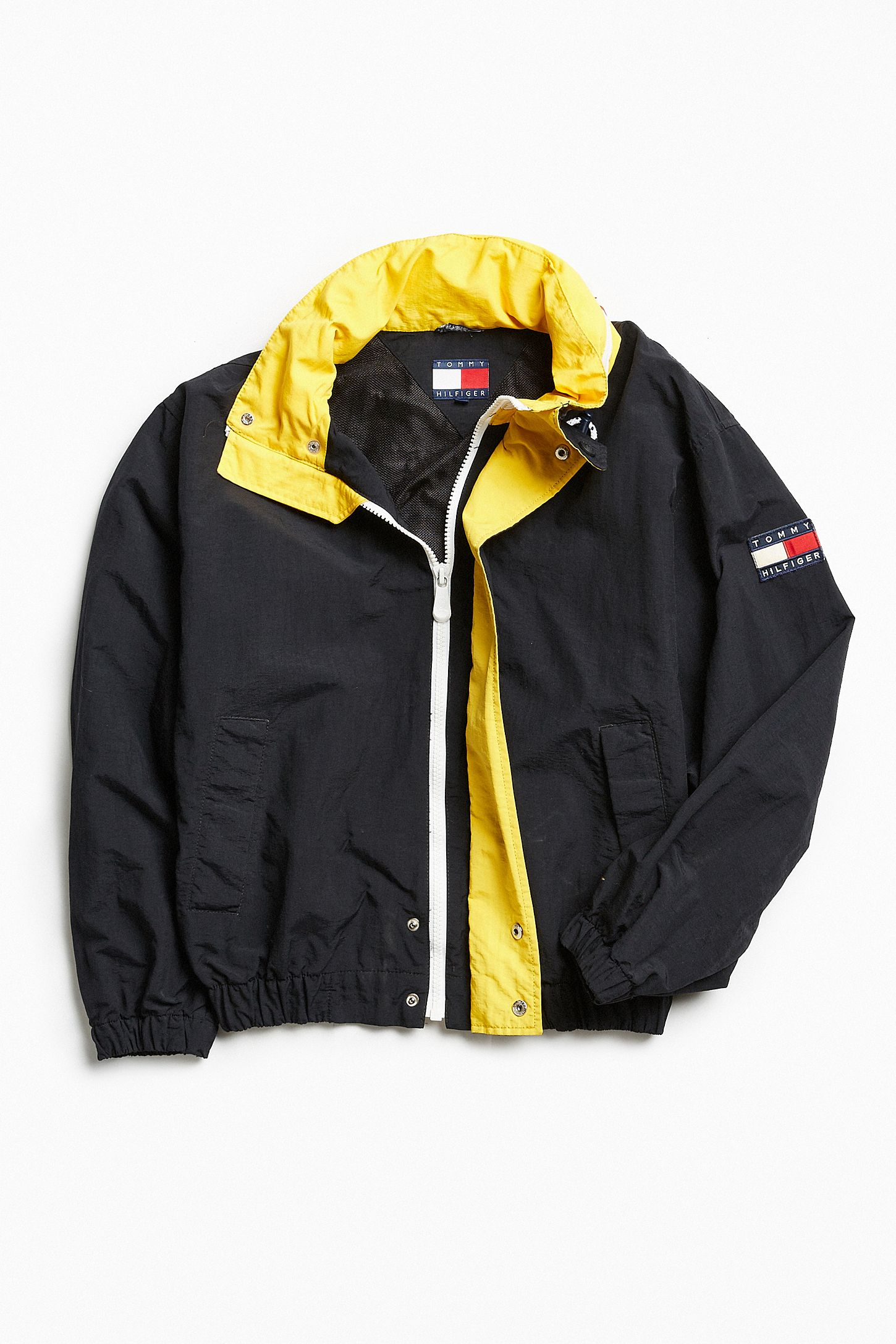 cd9b927c Vintage Tommy Hilfiger Black + Yellow '90s Prep Sport Windbreaker Jacket.  Tap image to zoom. Hover to zoom. Double Tap to Zoom