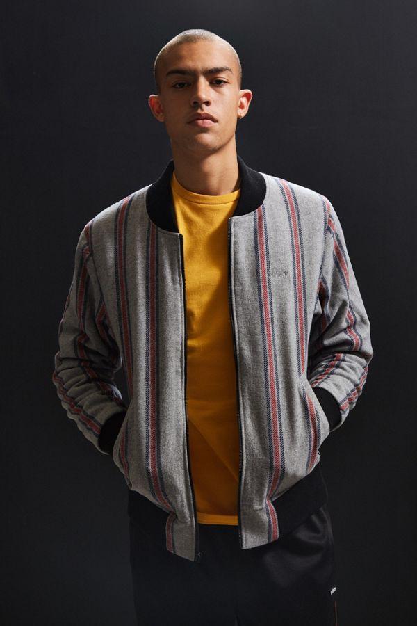 383580848 Stussy Wool Stripe Bomber Jacket