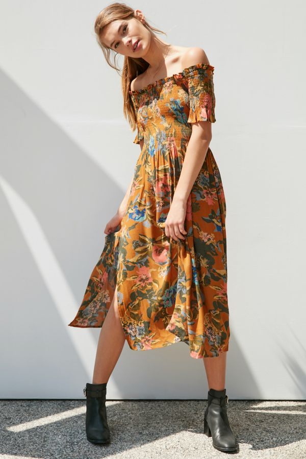af3732bc0412 Kimchi Blue Off-The-Shoulder Smocked Midi Dress
