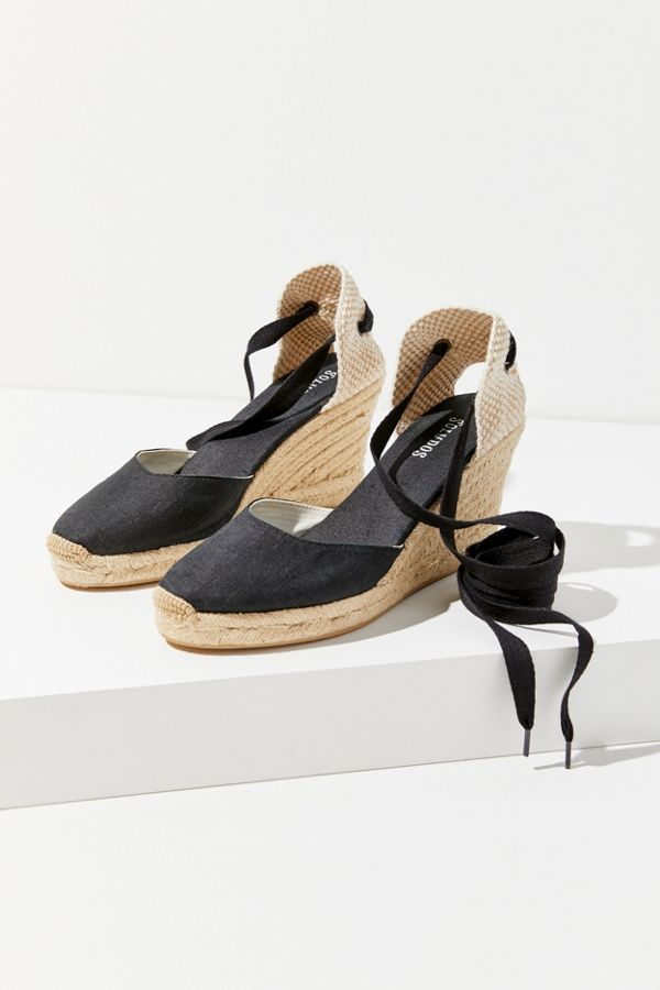 7c75e0ad339 Slide View  2  Soludos Black Linen Espadrille Tall Wedge Sandal