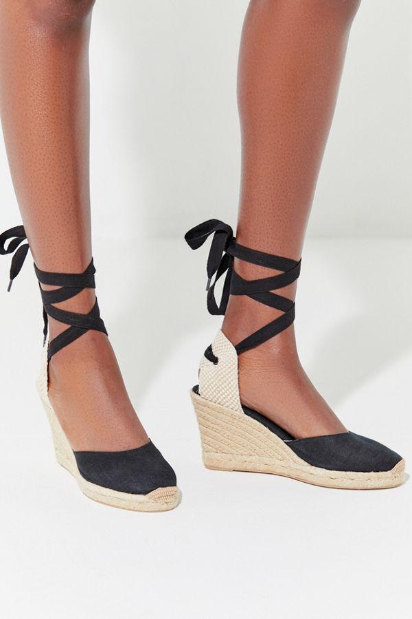 cb33e41036b Soludos Black Linen Espadrille Tall Wedge Sandal