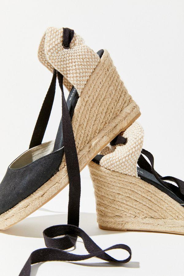 b2e927f9fbb Slide View  4  Soludos Black Linen Espadrille Tall Wedge Sandal