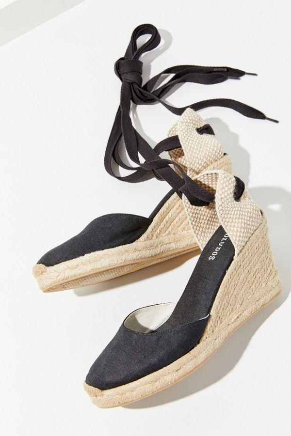 pre order save up to 80% sneakers Sandales à talon compensé de style espadrilles en lin noir Soludos