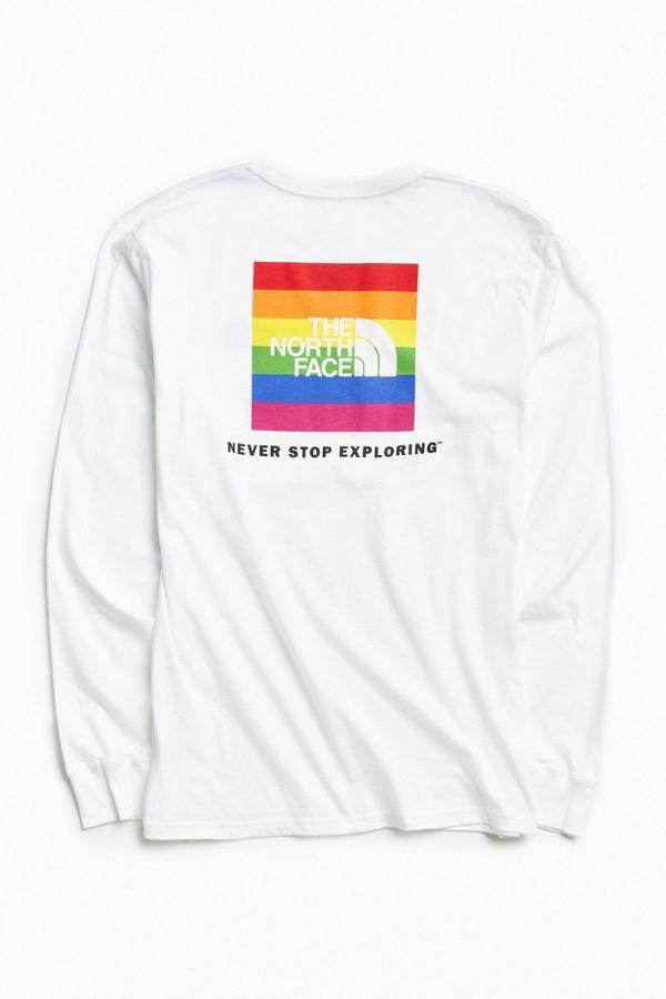 d0198a6c The North Face Rainbow Box Logo Long Sleeve Tee   Urban Outfitters