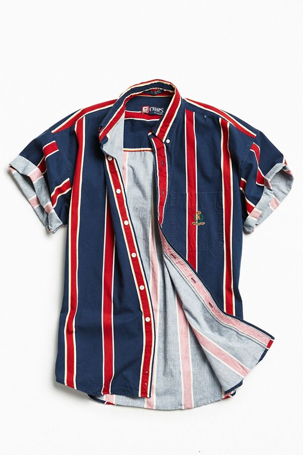 b9b976a22288fb Vintage '90s Vertical Stripe Short Sleeve Button-Down Shirt | Urban ...