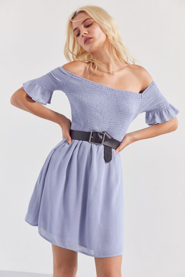 652ae9326 Kimchi Blue Off-The-Shoulder Smocked Swing Dress | Urban Outfitters ...