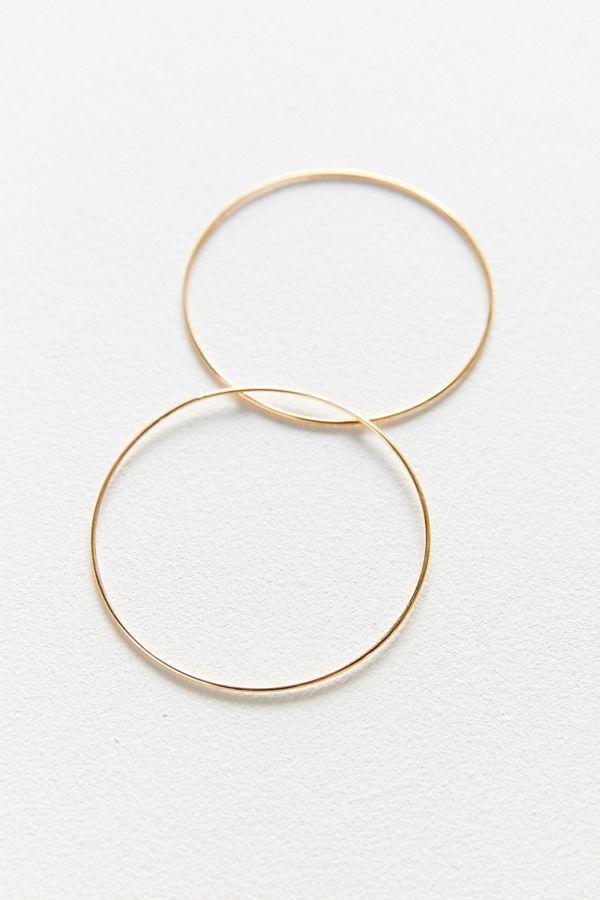 18k Gold Sterling Silver Plated Basic Hoop Earring