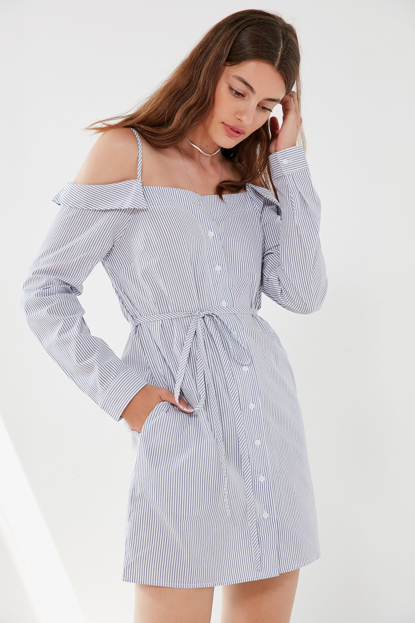 020f34c8ce Cooperative Striped Button-Down Shirt Dress