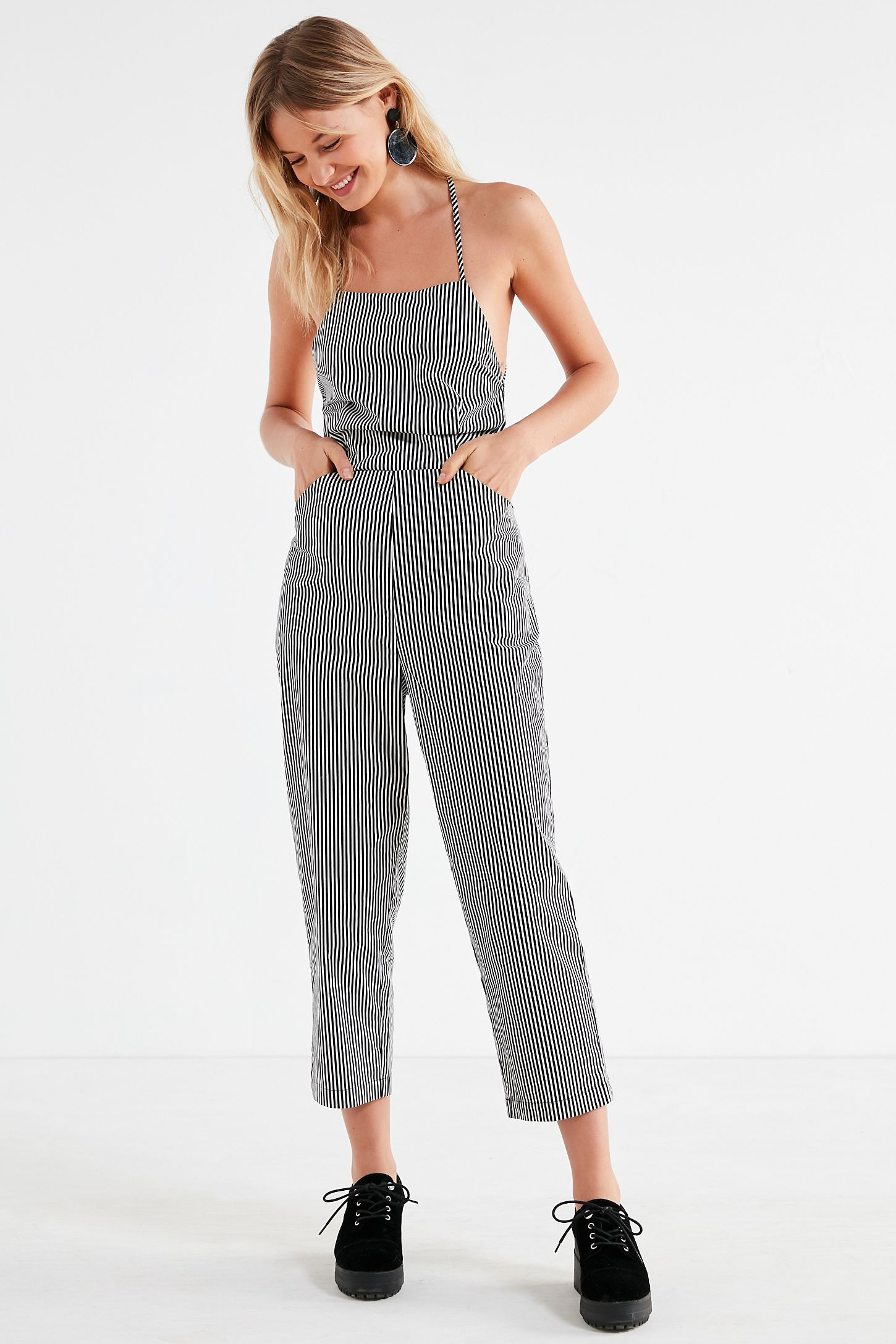 c4f56fb6e9 Silence + Noise Strappy Striped Culotte Jumpsuit