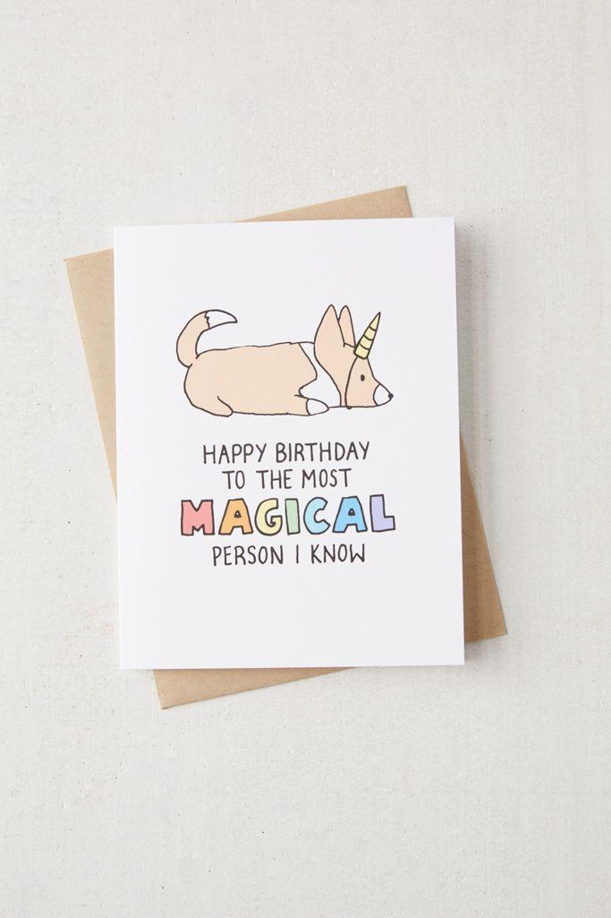 tiffbits unicorn corgi birthday card  urban outfitters